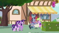 Twilight and Starlight overhear ponies having brunch S7E14