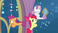 Apple Bloom and Scootaloo follow Terramar S8E6
