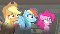 Applejack, Pinkie, and Rainbow looking off-screen S5E1.png