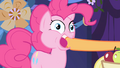 Applejack stuffs an apple into Pinkie's mouth S1E01.png