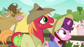 Big Mac and Sugar Belle walk past cow and pigs S7E8.png