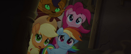 Capper and ponies looking up into the storm MLPTM