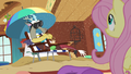 Discord blowing sand in Fluttershy's direction S6E17.png