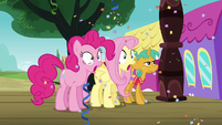 Fluttershy and Pinkie surprised; Snails looks stoic S6E18