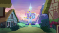 Friendship Rainbow Kingdom castle in the distance S5E3.png