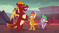 Garble and Smolder fist-bump S9E9