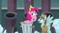 Pinkie Pie asks the Janitor Pony about her pie S7E23