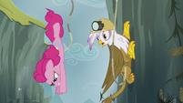Pinkie Pie diving past Gilda S5E8