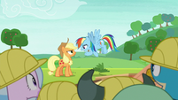 Rainbow and Applejack arguing again S8E9
