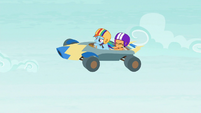 Rainbow and Scootaloo sail through the air S6E14