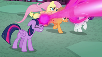 Twilight's friends running past her S8E26