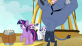 Twilight Sparkle next to Iron Will on a platform S7E22.png