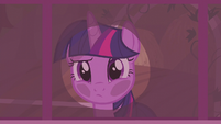 Twilight presses her face against the window S5E25