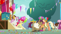 Apple Bloom and Sweetie gallop from the stage S9E12