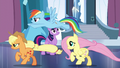 Applejack, Rainbow, and Fluttershy runs off S6E2.png