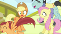 Applejack and Fluttershy surprised by pony crowds S6E20.png