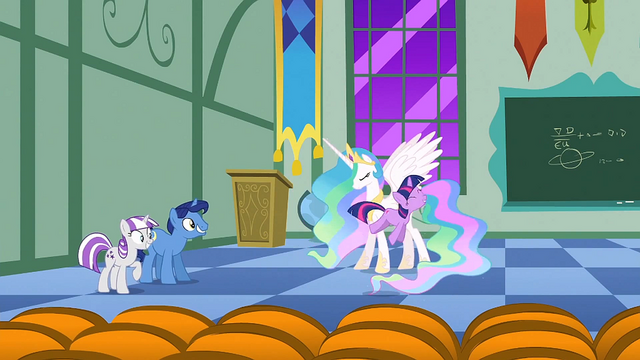 Файл:Filly Twilight hopping around Celestia S1E23.png