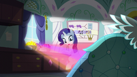 Gems shining on a Princess Dress behind Rarity S5E14
