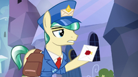 Mail Pony giving a letter to Sunburst S8E8