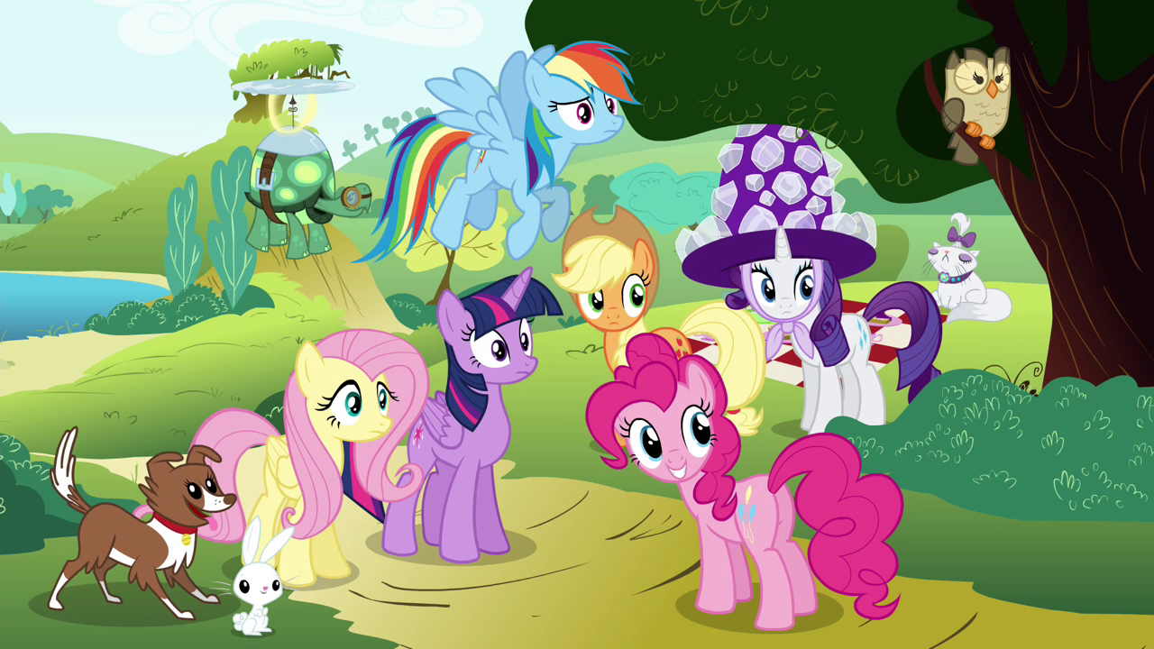 Image - Mane 6 and their pets looking S4E18.png   My ...