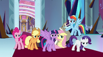 Mane Six standing up to King Sombra S9E2