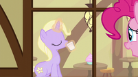 Pinkie looks at a pony drinking S5E19