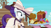 Pinkie offering snacks to elegant Rarity S6E22