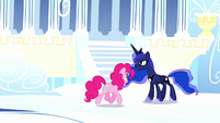 Pinkie trotting through dream Cloudsdale S5E13