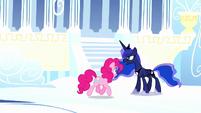 Pinkie trotting through dream Cloudsdale S5E13
