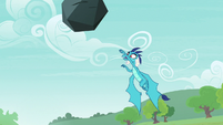 Princess Ember tossing the boulder S7E15
