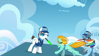 Rainbow Dash and Lightning Dust taking off S3E7
