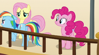 Rainbow Dash walks from Pinkie and Fluttershy S9E6