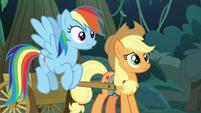 Rainbow and Applejack hear fake Rarity S8E13