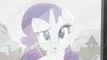 Rarity looks into the window of a Kerfuffle store Rainbow Roadtrip