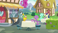 Spike, Gabby, Lyra, and Bon Bon having milkshakes S9E19