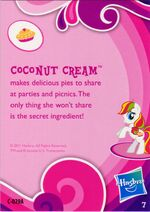 Toys 'R Us Coconut Cream collector card back