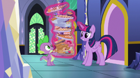 Twilight picks up Spike's pile of food S8E24