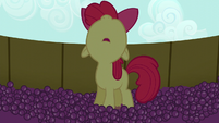 Apple Bloom looking up while in the grape trough S5E17