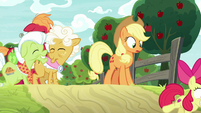 Apple Bloom runs down toward the field S9E10