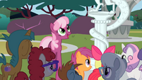 Cheerilee and class looking at Discord statue S2E01