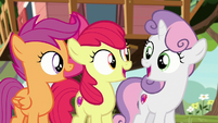 Cutie Mark Crusaders gasping in delight S8E12
