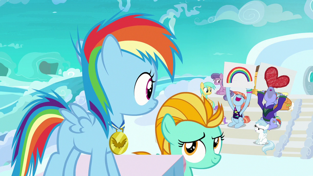 File:Filly Rainbow Dash hears her parents cheering S7E7.png