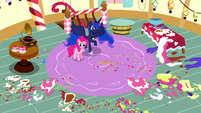 Pinkie and Luna surrounded by cake mess S5E13