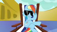 Rainbow Dash lowers her sunglasses S6E21