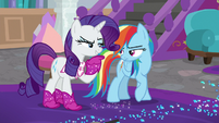 Rarity looking smugly at Rainbow Dash S8E17