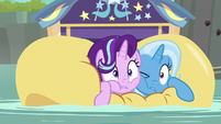 Starlight Glimmer and Trixie on a raft S8E19