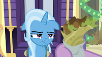 Trixie looks annoyed at the falafel S8E19