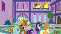 Twilight, AJ, and Rockhoof see flames S8E21