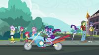 Twilight and Rainbow ride away from school EGDS40