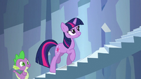 Twilight and Spike confidently going up the stairs S3E2